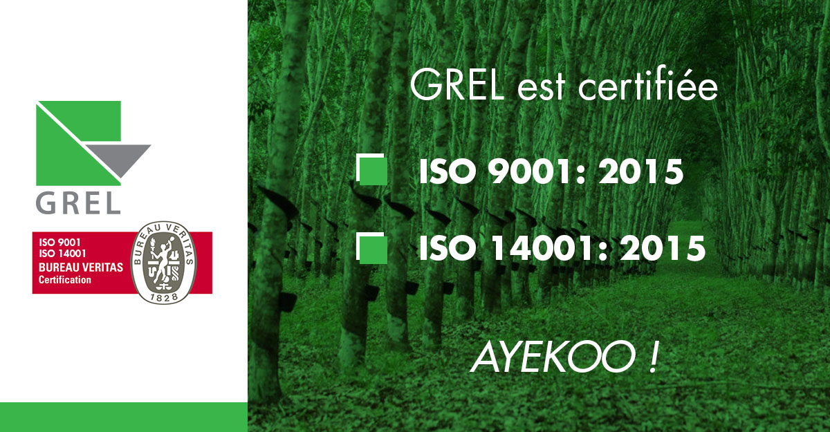 Certification GREL ISO 9001:2015 / 14001:2015